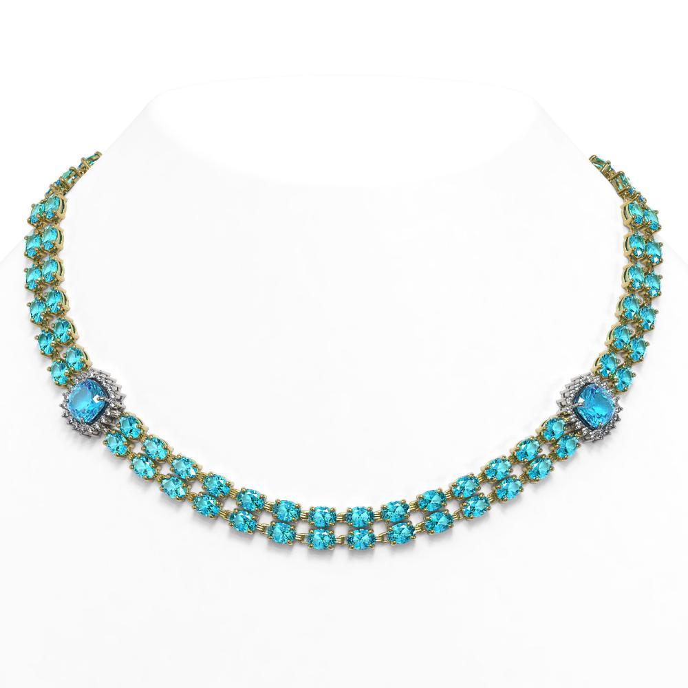 72.67 ctw Swiss Topaz & Diamond Necklace 14K Yellow Gold - REF-477F8N - SKU:44830