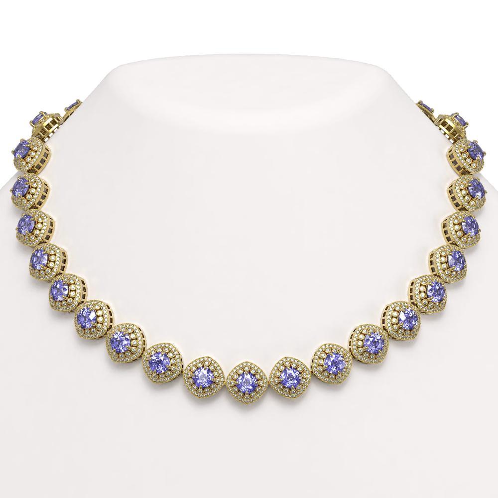 83.82 ctw Tanzanite & Diamond Necklace 14K Yellow Gold - REF-2511Y8X - SKU:44107