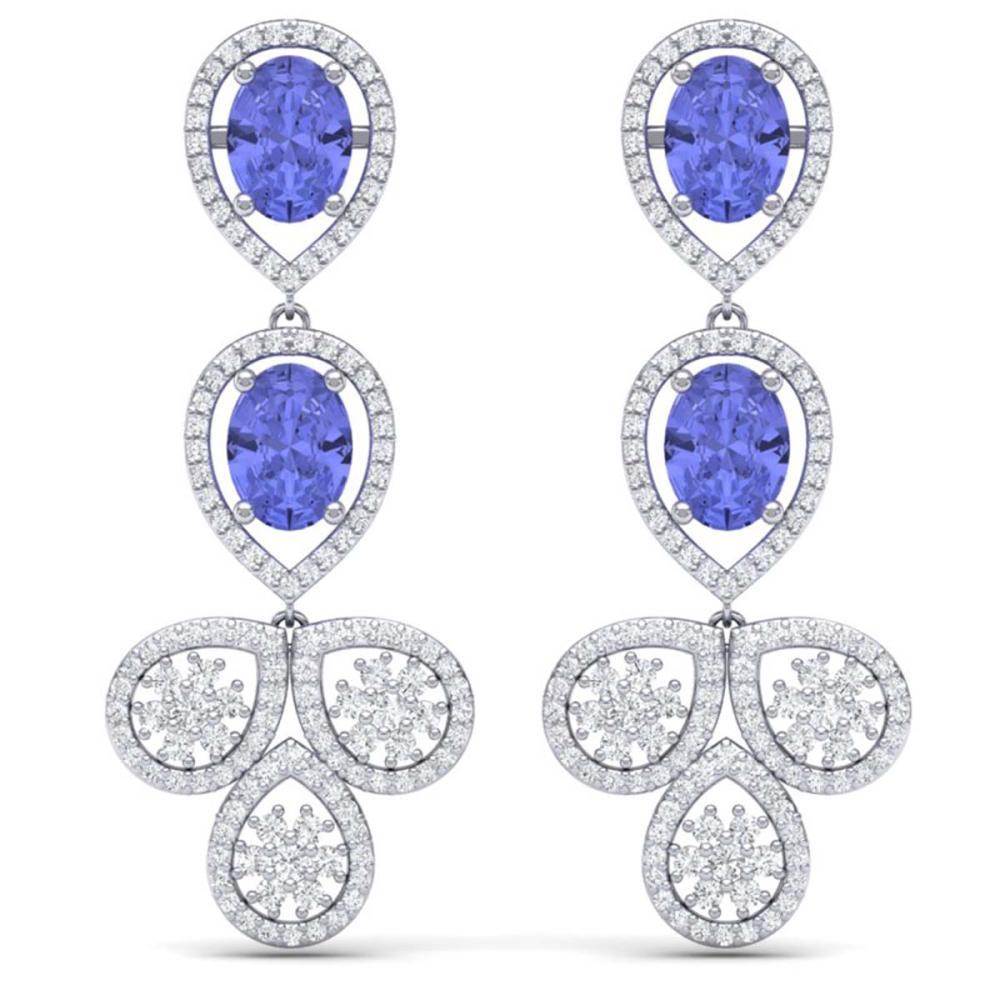 8.75 ctw Tanzanite & VS Diamond Earrings 18K White Gold - REF-327X3R - SKU:39087