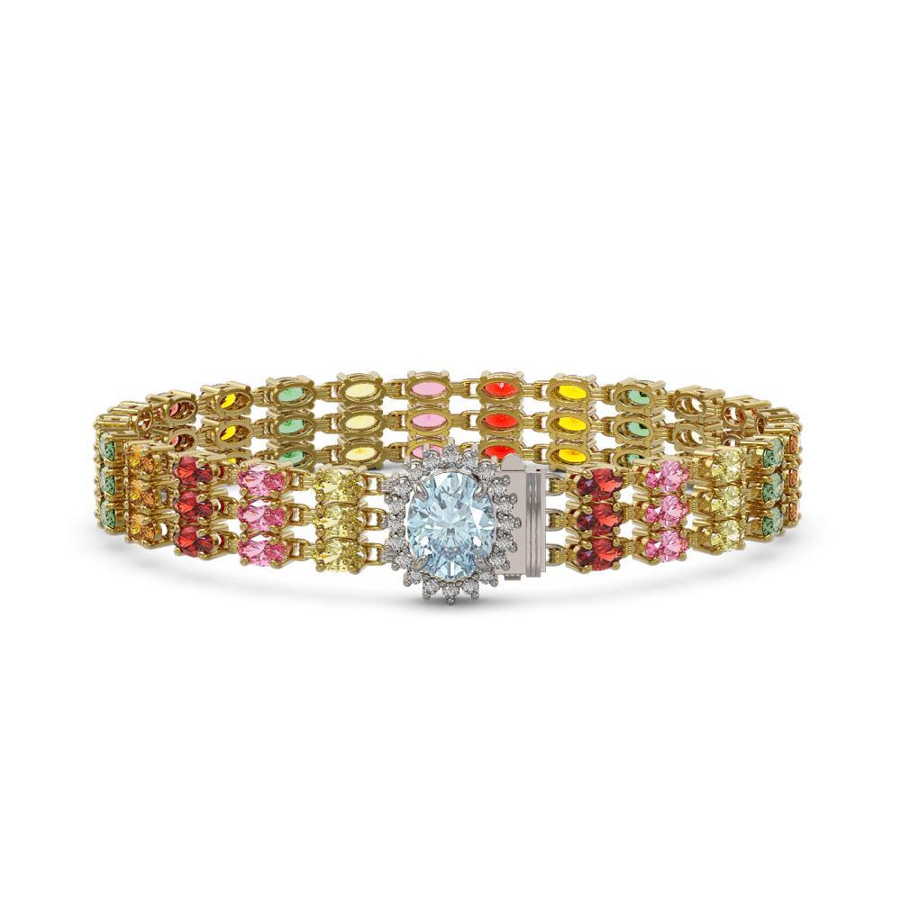 30.58 ctw Sapphire & Diamond Bracelet 14K Yellow Gold - REF-250K2W - SKU:45871
