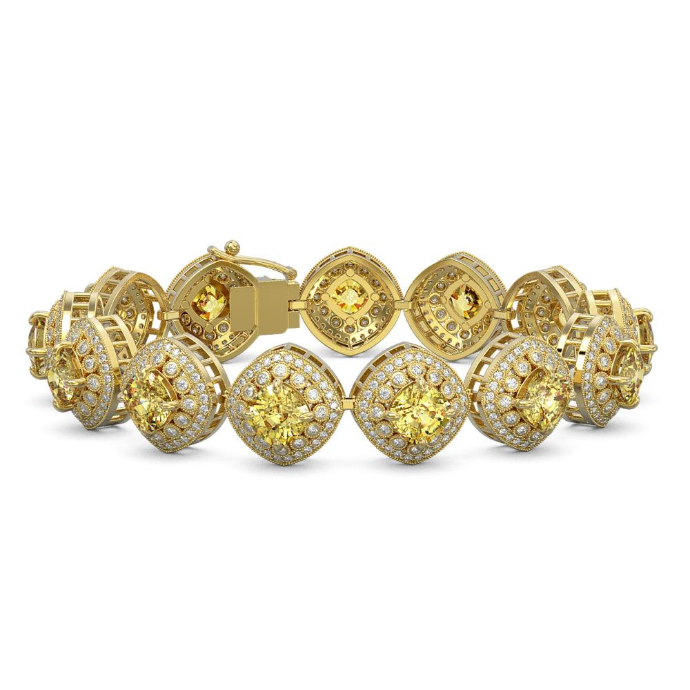 28.35 ctw Canary Citrine & Diamond Bracelet 14K Yellow Gold - REF-805M5F - SKU:44161