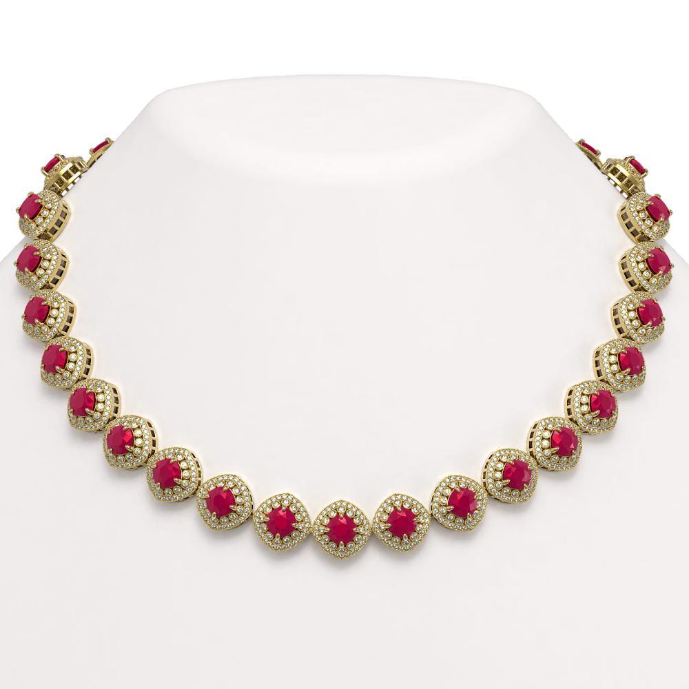 82.17 ctw Ruby & Diamond Necklace 14K Yellow Gold - REF-2052W9H - SKU:44101