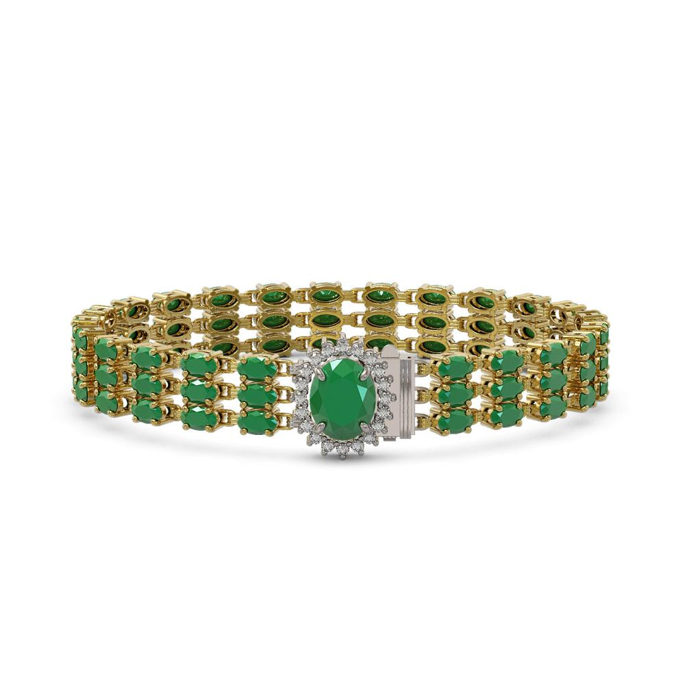 29.85 ctw Emerald & Diamond Bracelet 14K Yellow Gold - REF-227V3Y - SKU:45823