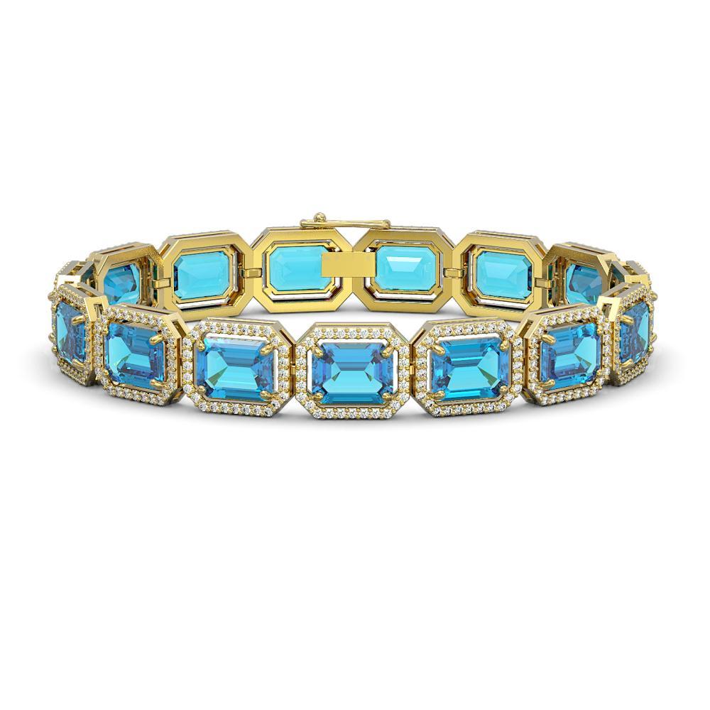 35.61 ctw Swiss Topaz & Diamond Halo Bracelet 10K Yellow Gold - REF-337V3Y - SKU:41557
