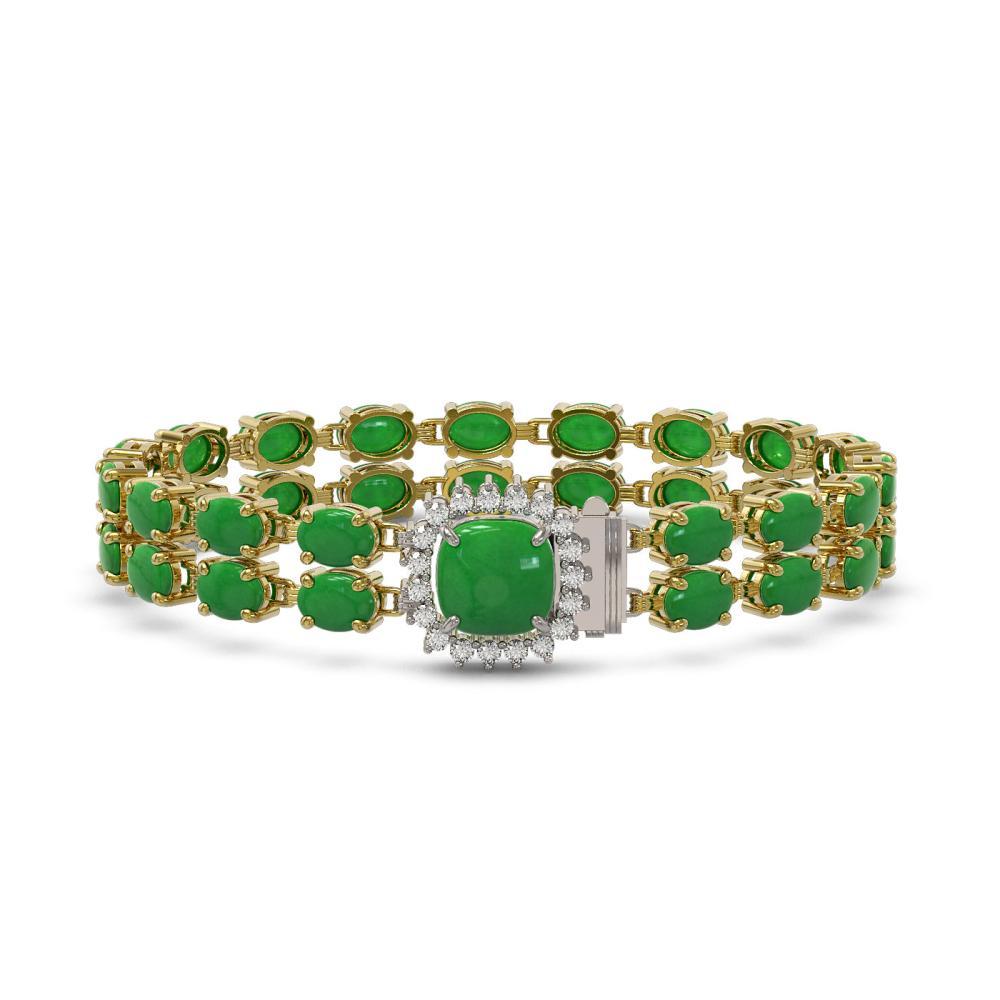 31.28 ctw Jade & Diamond Bracelet 14K Yellow Gold - REF-202N9A - SKU:45706