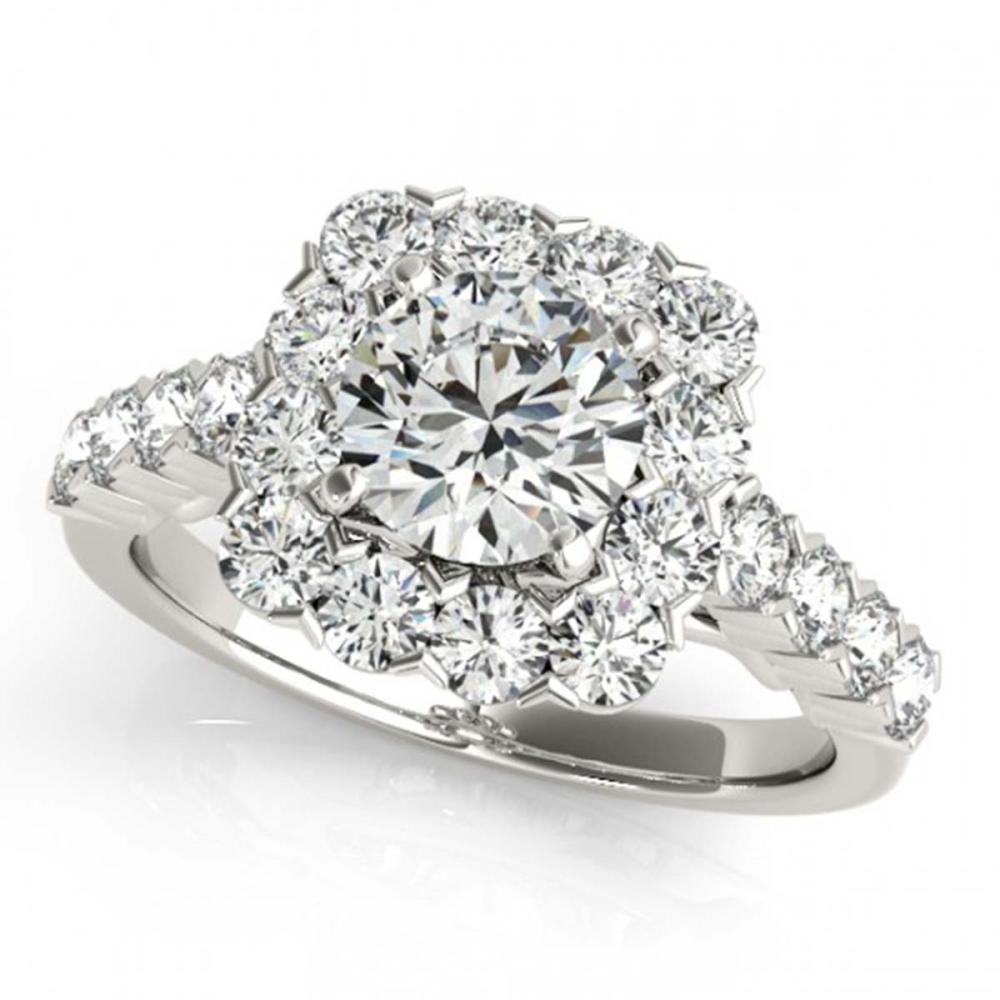 1.50 ctw VS/SI Diamond Halo Ring 18K White Gold - REF-121K4W - SKU:26206