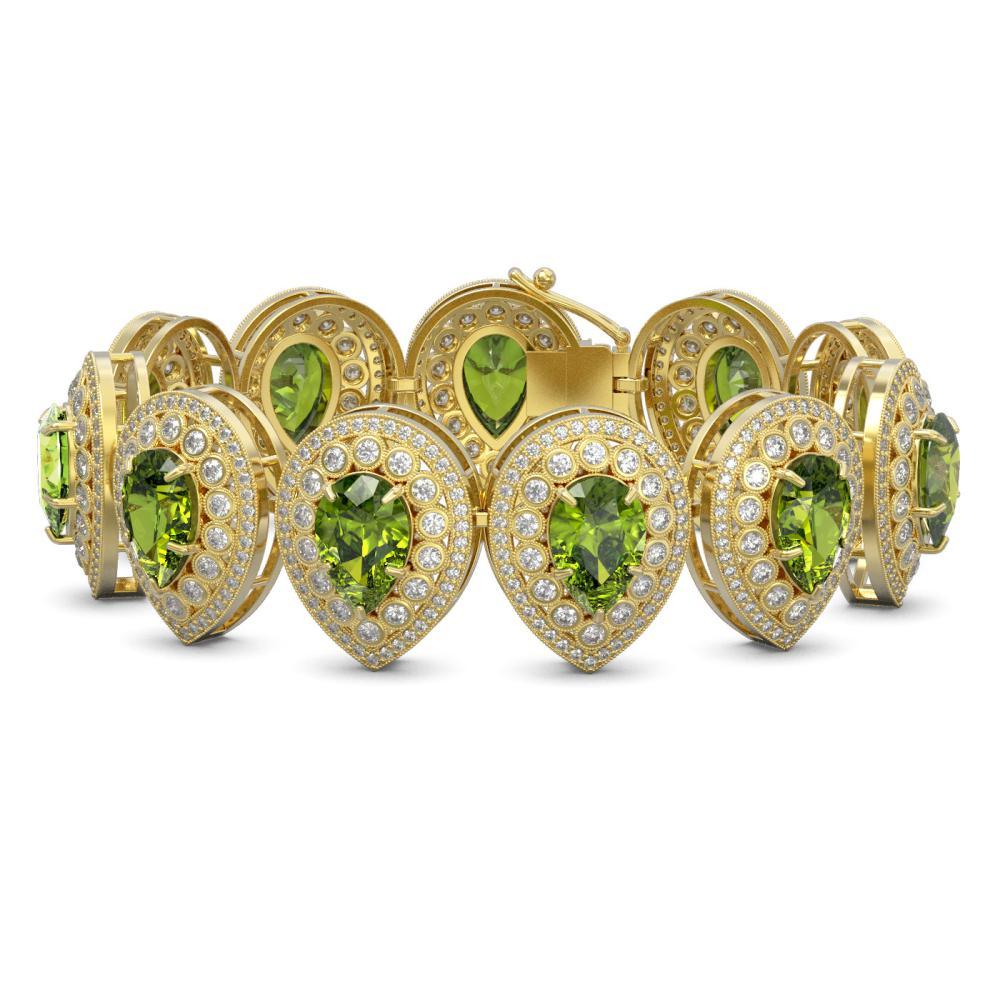 57.24 ctw Tourmaline & Diamond Bracelet 14K Yellow Gold - REF-1769X5R - SKU:43276