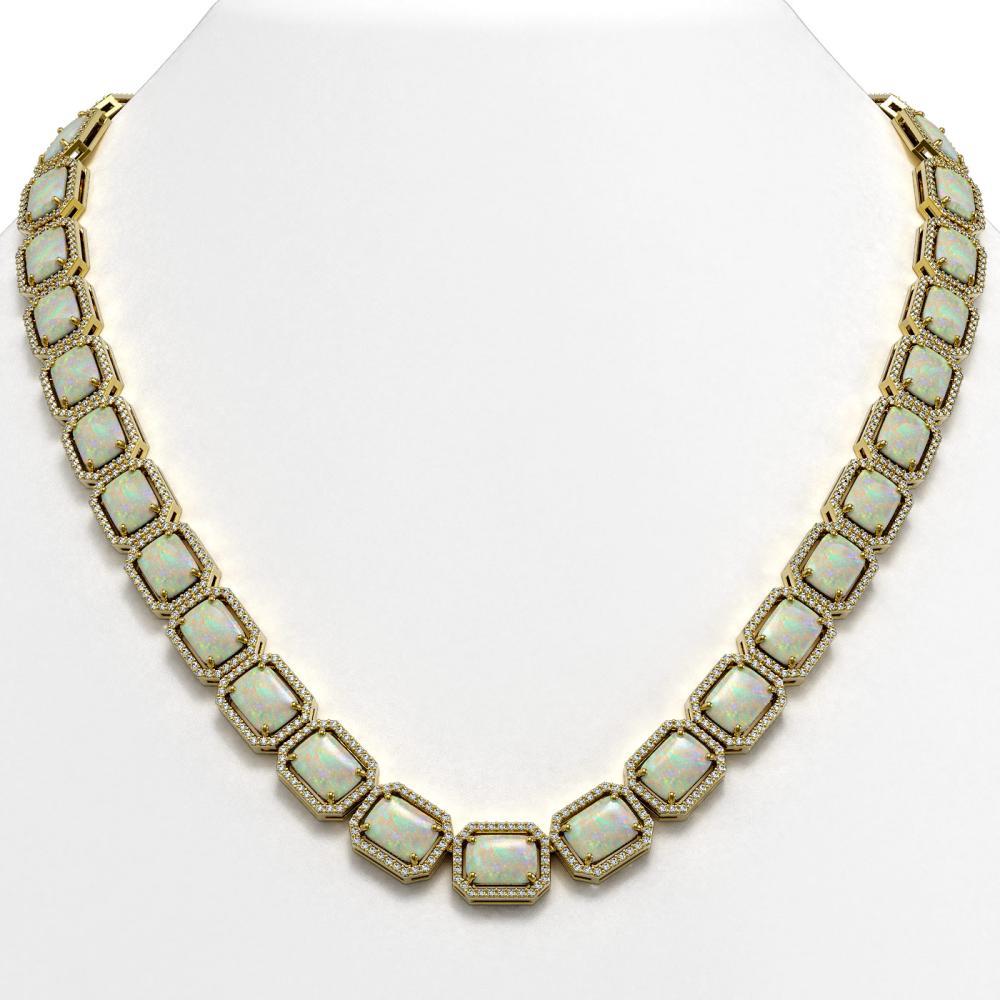 53.59 ctw Opal & Diamond Halo Necklace 10K Yellow Gold - REF-890M9F - SKU:41491