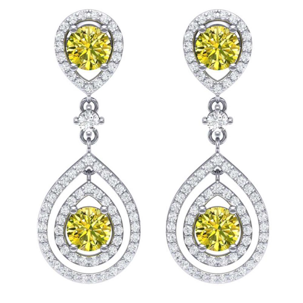 3.9 ctw Fancy Yellow SI Diamond Earrings 18K White Gold - REF-454A5V - SKU:39117