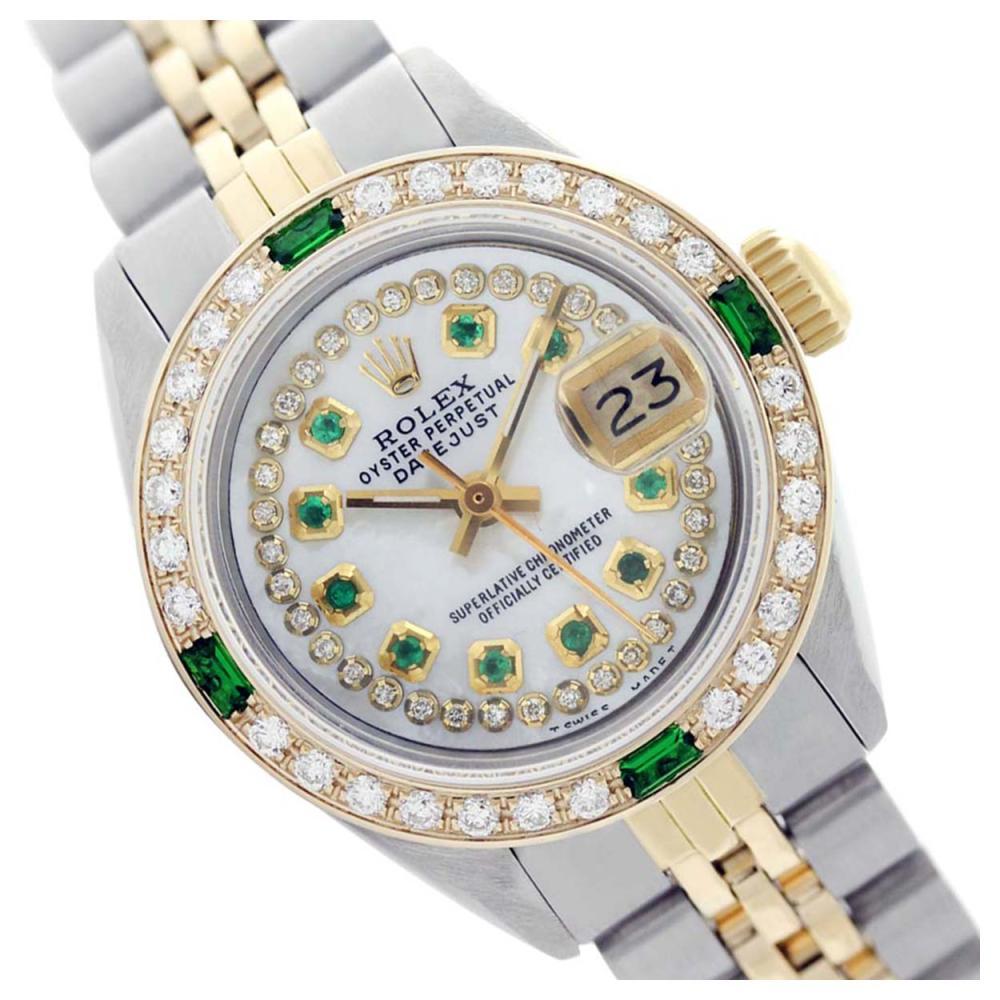 Rolex Ladies Two Tone 14K Gold/SS, Diam/Ruby Dial & Diam/Emerald Bezel, Sapphire Crystal - REF-444X4Y