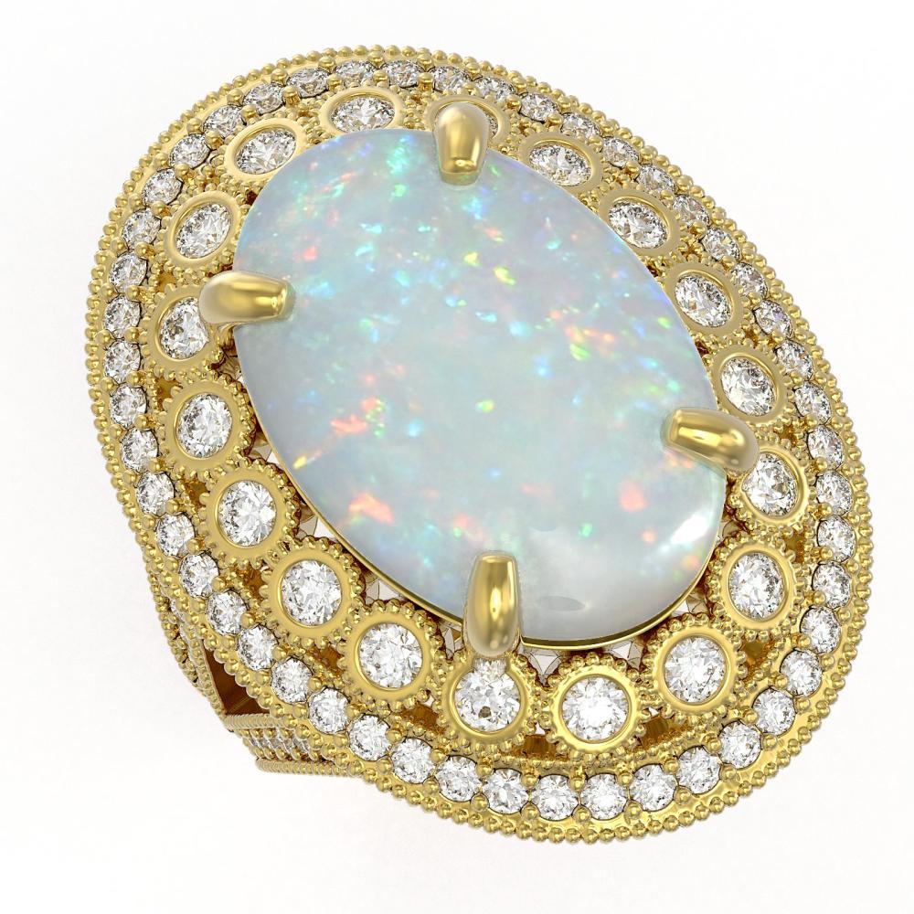 13.57 ctw Opal & Diamond Ring 14K Yellow Gold - REF-384K2W - SKU:43891