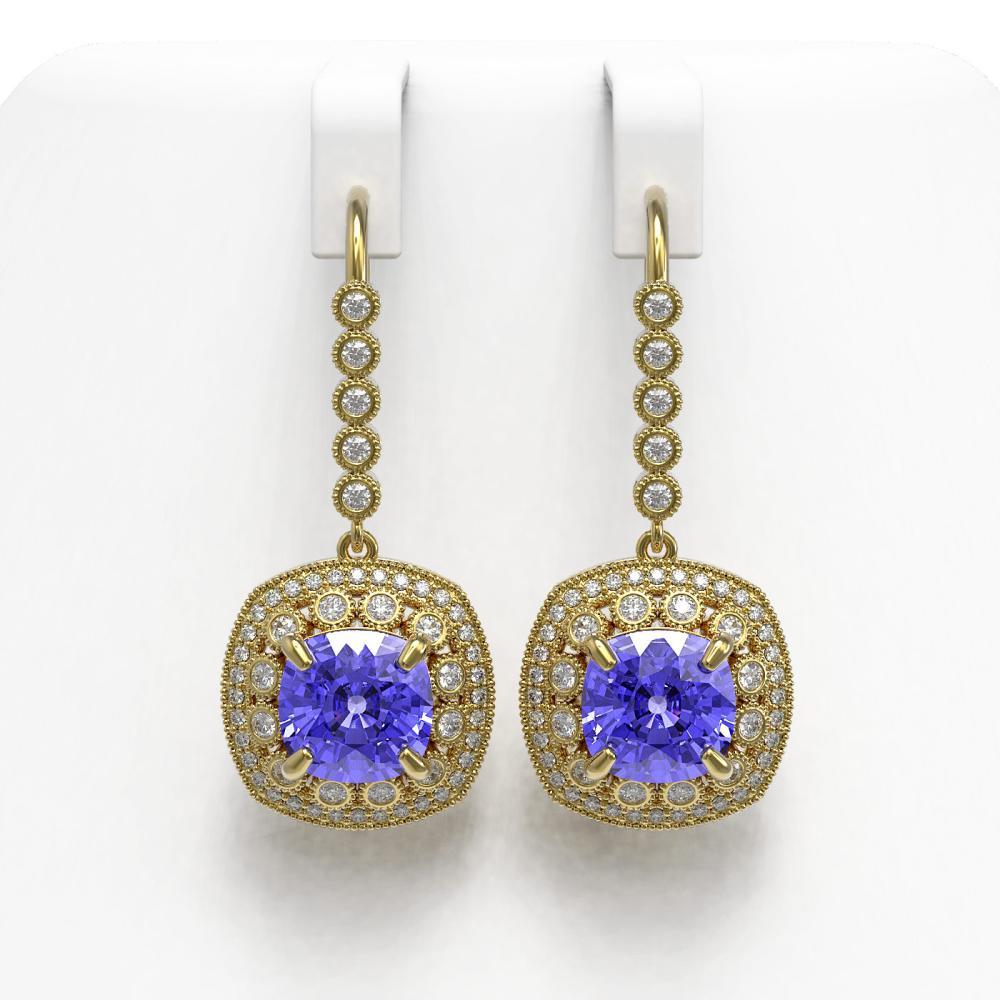 13.4 ctw Tanzanite & Diamond Earrings 14K Yellow Gold - REF-420F5N - SKU:43963