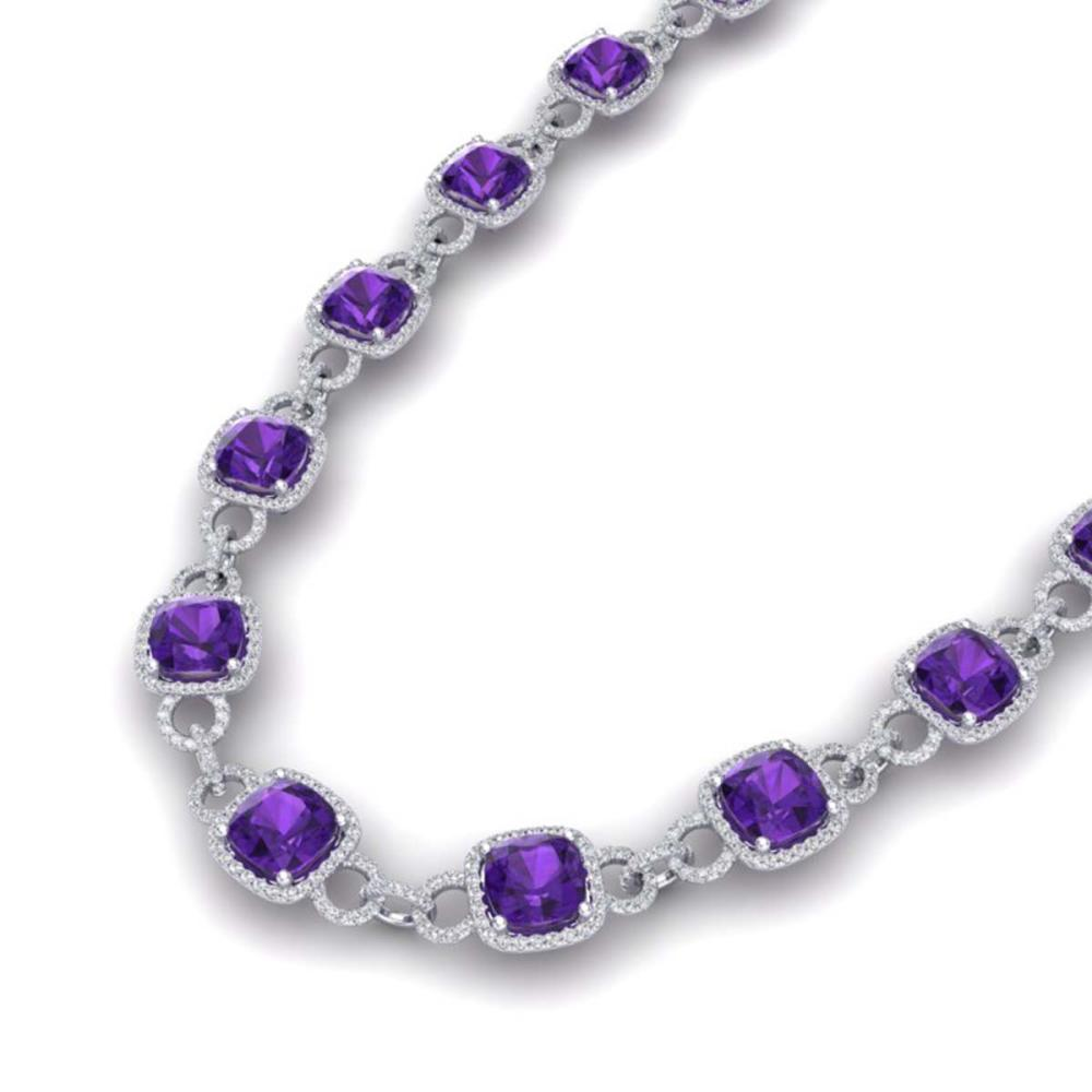 66 ctw Amethyst & VS/SI Diamond Necklace 14K White Gold - REF-794V5Y - SKU:23035