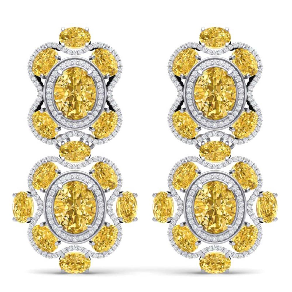 29.21 ctw Canary Citrine & VS Diamond Earrings 18K White Gold - REF-409F3N - SKU:39324