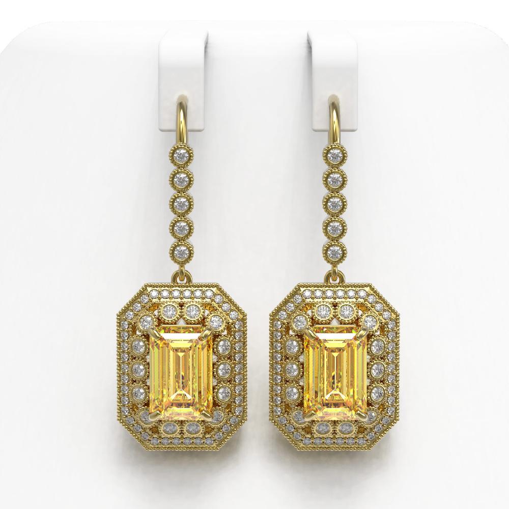 11.44 ctw Canary Citrine & Diamond Earrings 14K Yellow Gold - REF-243M5F - SKU:43405