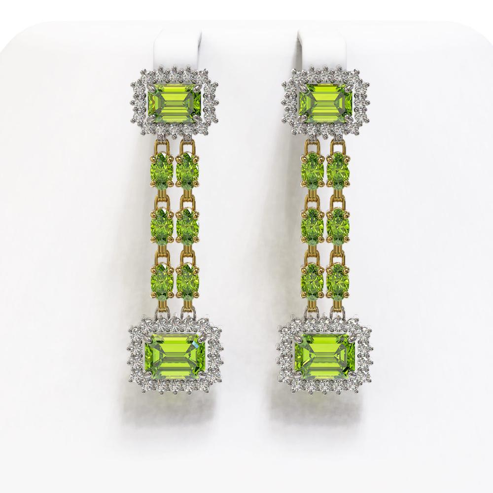 10.88 ctw Peridot & Diamond Earrings 14K Yellow Gold - REF-211X5R - SKU:45223