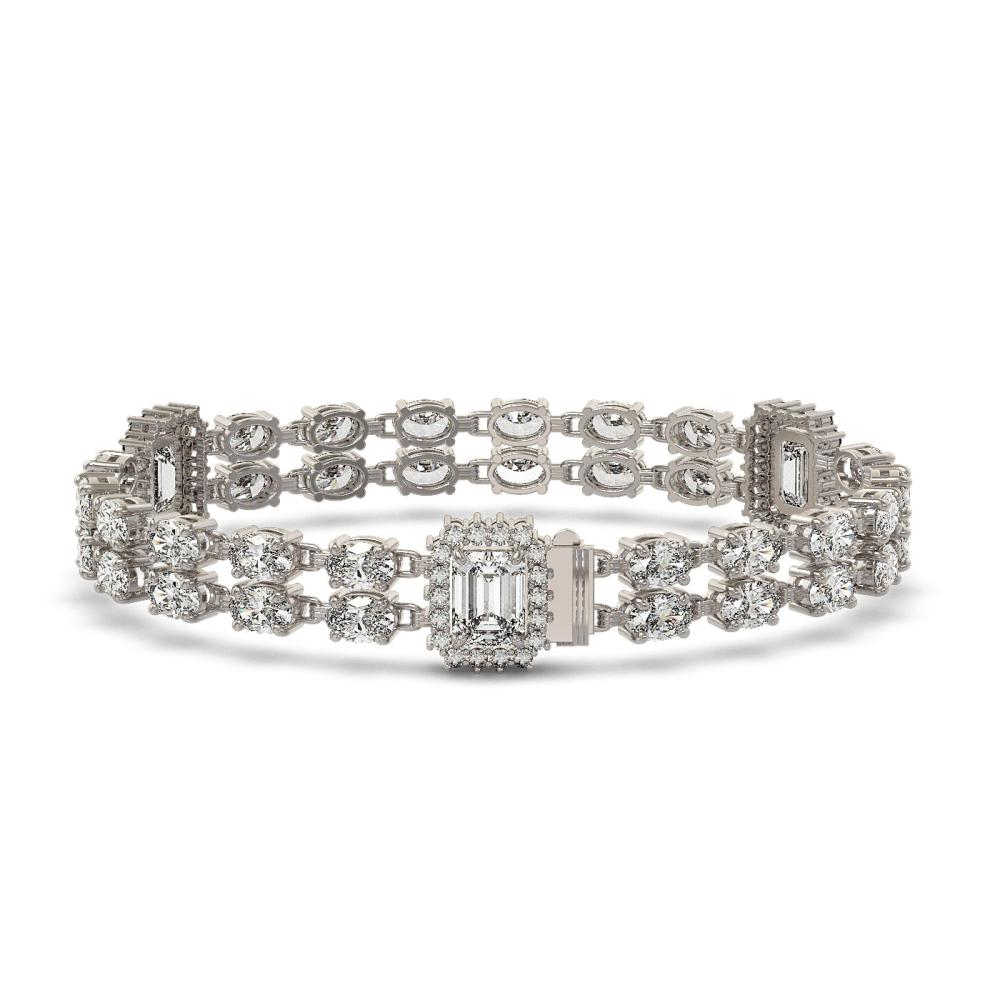 13.36 ctw Emerald Cut & Oval Diamond Bracelet 18K White Gold - REF-1361F5N - SKU:46215