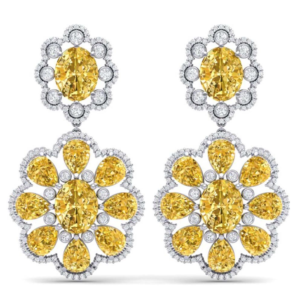 29.9 ctw Canary Citrine & VS Diamond Earrings 18K White Gold - REF-345M5F - SKU:39165