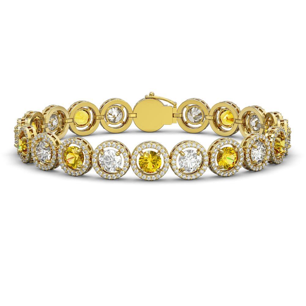 15.47 ctw Canary & Diamond Bracelet 18K Yellow Gold - REF-1646R3K - SKU:42691