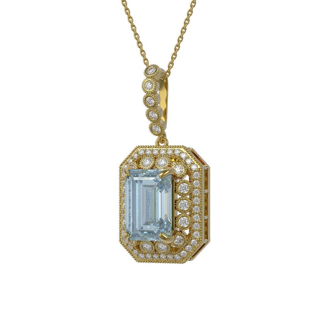 12.5 ctw Sky Topaz & Diamond Necklace 14K Yellow Gold - REF-199X3R - SKU:43543