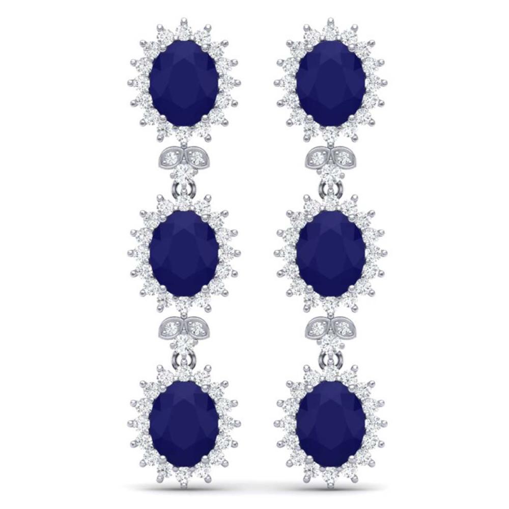 24.52 ctw Sapphire & VS Diamond Earrings 18K White Gold - REF-400H2M - SKU:38643
