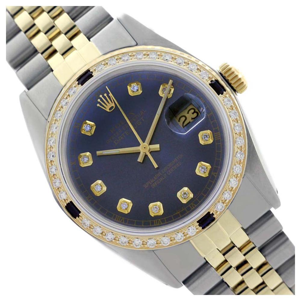 Rolex Ladies Two Tone 14K Gold/SS, Diam Dial & Diam/Sapphire Bezel, Sapphire Crystal - REF-434H4W