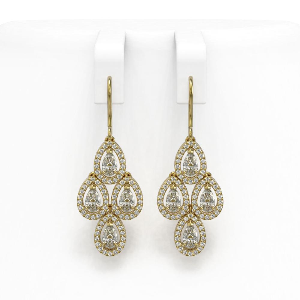 3.61 ctw Pear Diamond Earrings 18K Yellow Gold - REF-306Y5X - SKU:43081