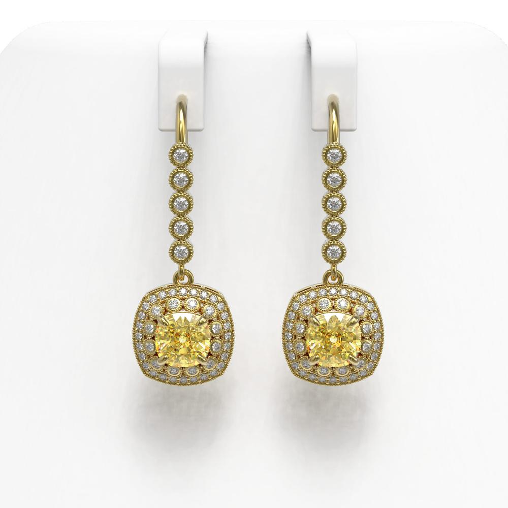 4.1 ctw Canary Citrine & Diamond Earrings 14K Yellow Gold - REF-124H4M - SKU:44065