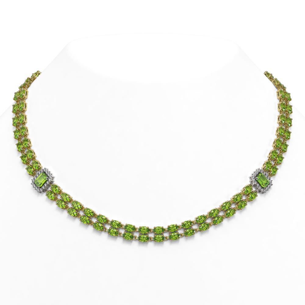 56.5 ctw Peridot & Diamond Necklace 14K Yellow Gold - REF-550W2H - SKU:45109