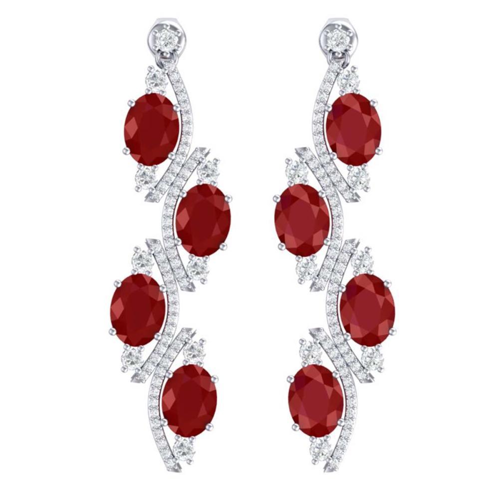 16.12 ctw Ruby & VS Diamond Earrings 18K White Gold - REF-290X9R - SKU:38979