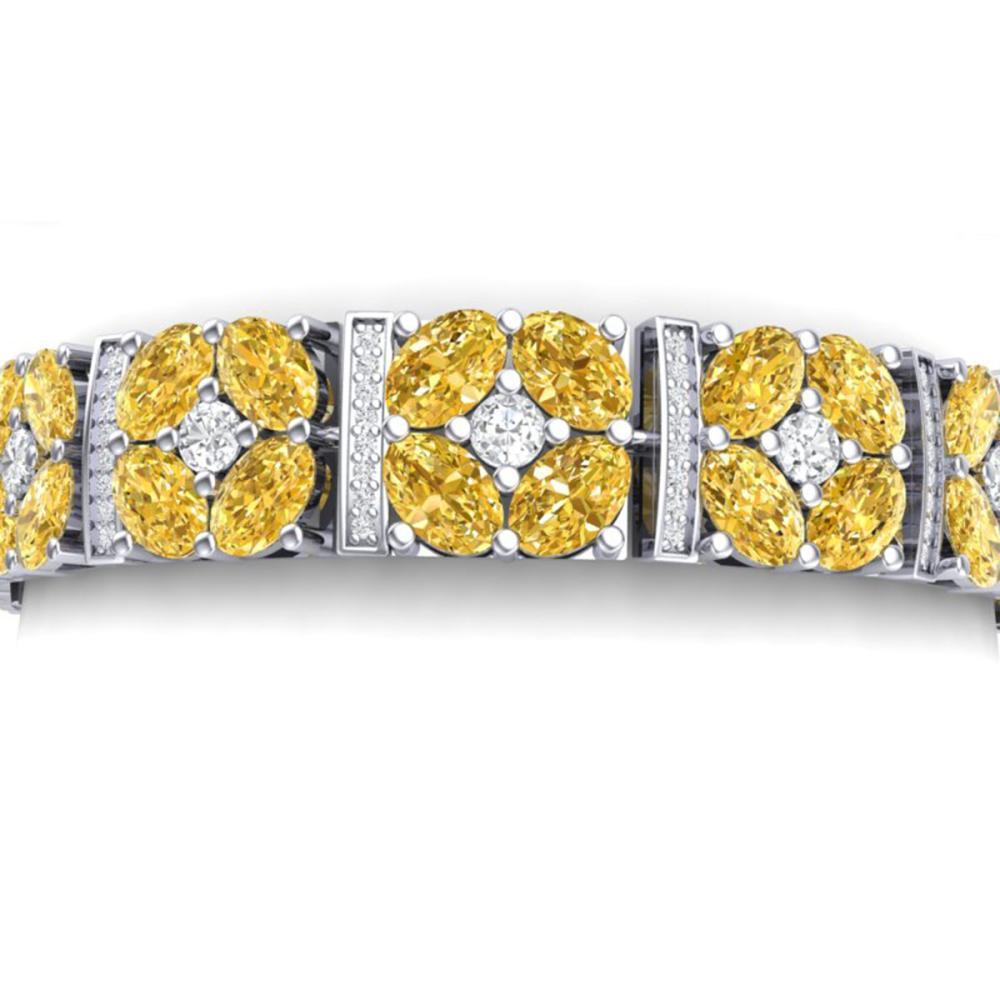 28.95 ctw Canary Citrine & VS Diamond Bracelet 18K White Gold - REF-636Y4X - SKU:39027