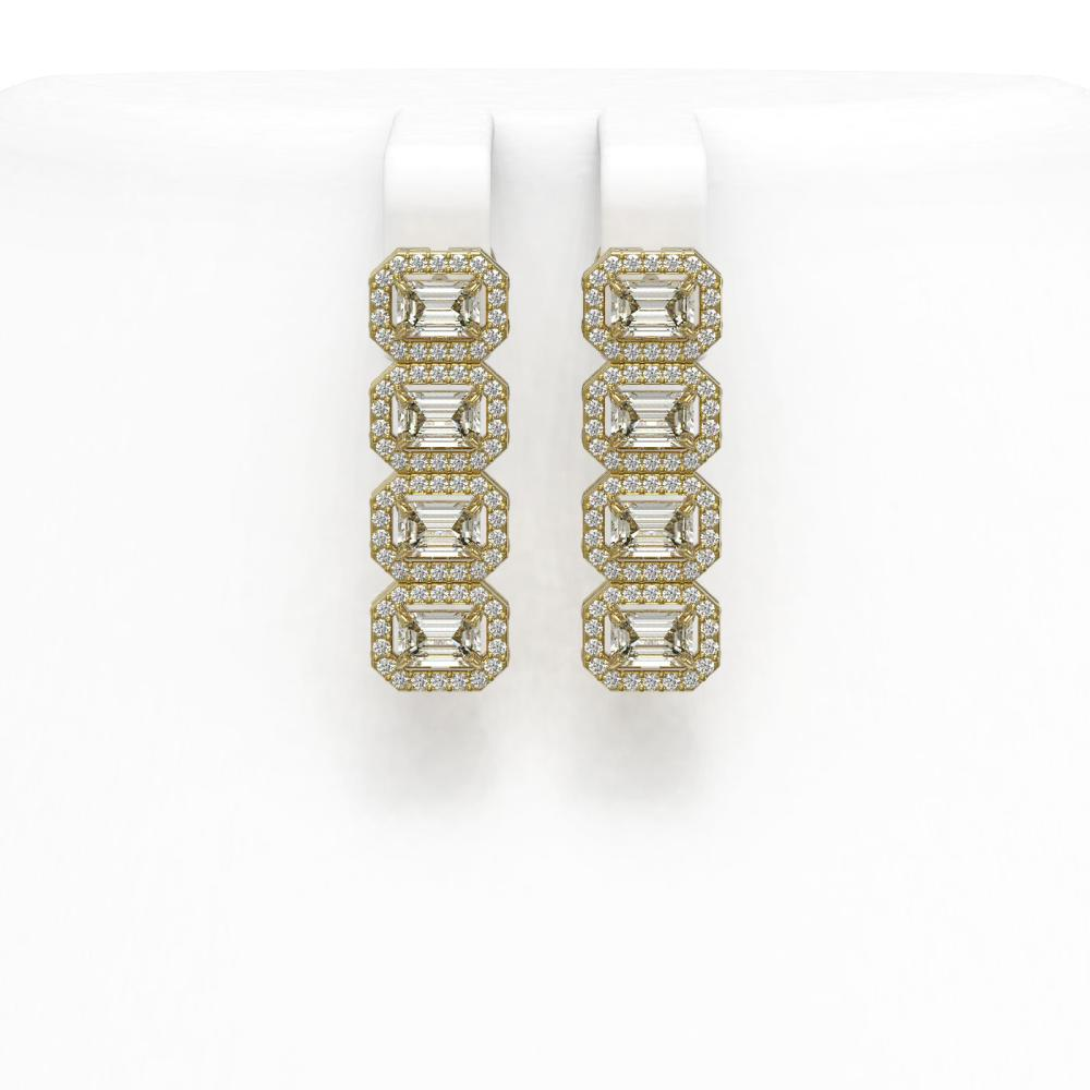 4.52 ctw Emerald Diamond Earrings 18K Yellow Gold - REF-534A2V - SKU:43117