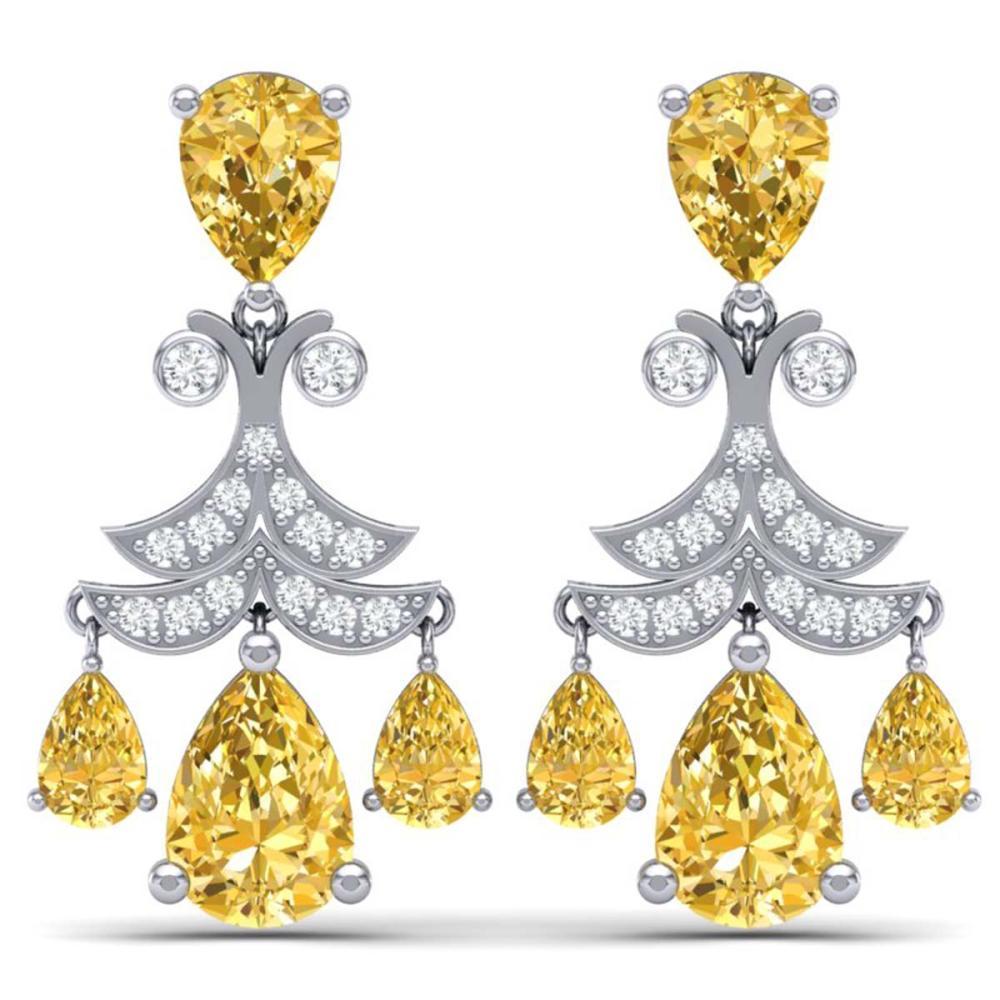 10.41 ctw Canary Citrine & VS Diamond Earrings 18K White Gold - REF-130R2K - SKU:38727