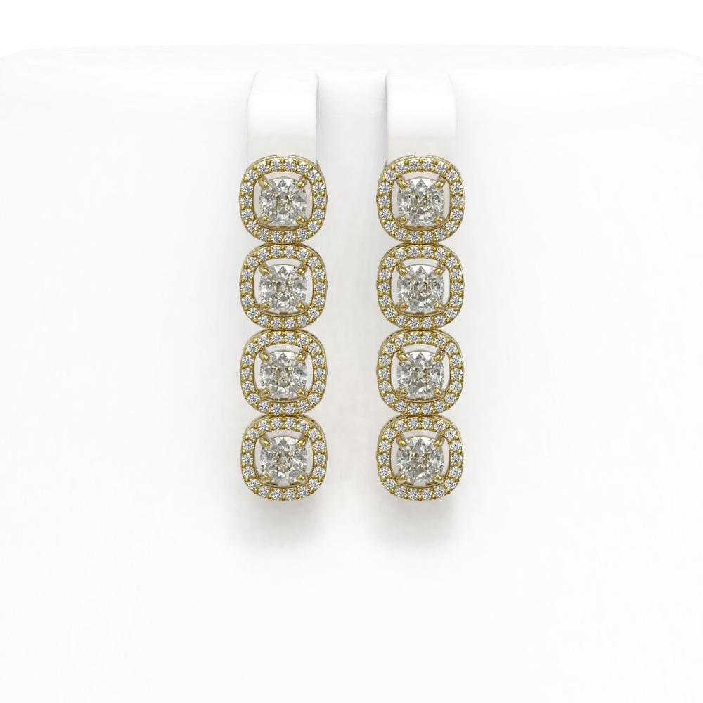 4.52 ctw Cushion Diamond Earrings 18K Yellow Gold - REF-384M5F - SKU:43027