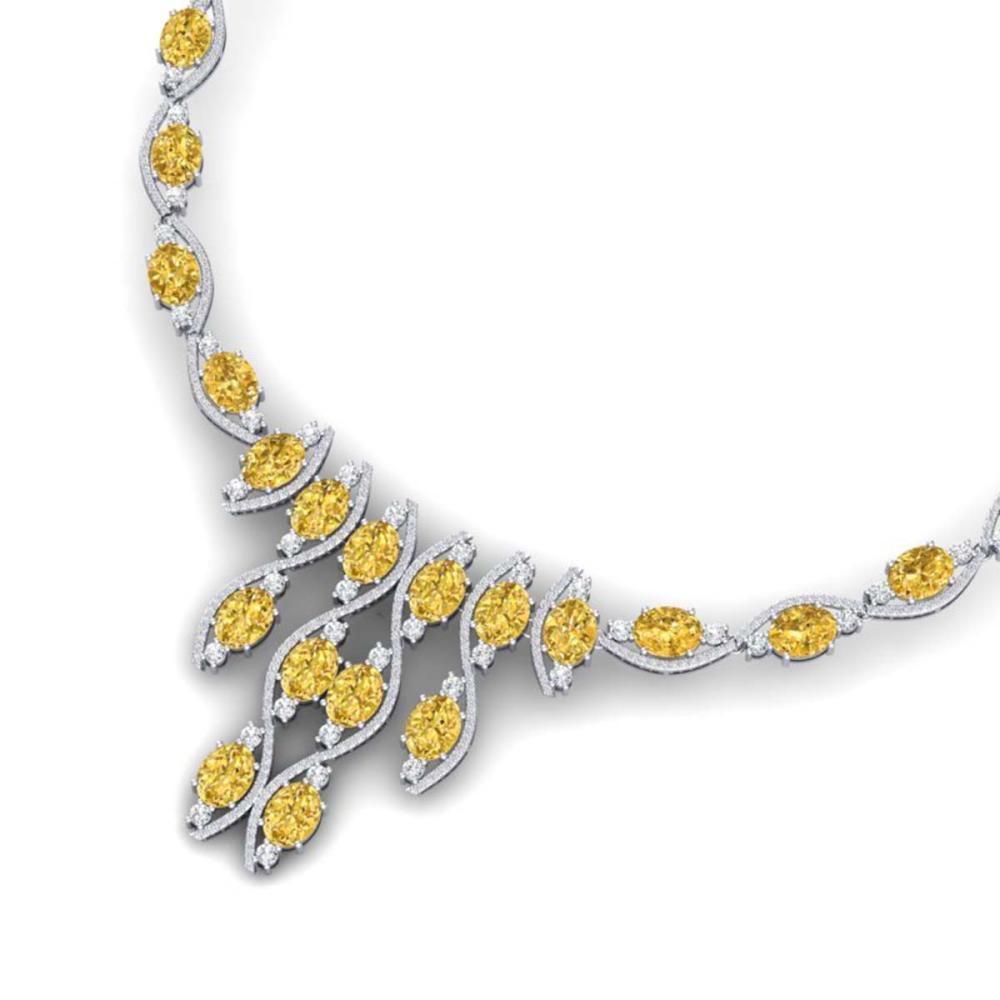 64.04 ctw Canary Citrine & VS Diamond Necklace 18K White Gold - REF-945X5R - SKU:39009