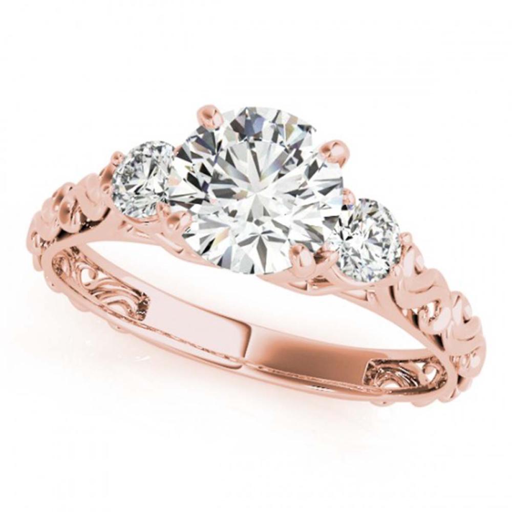 1 ctw VS/SI Diamond 3 Stone Ring 18K Rose Gold - REF-139Y8X - SKU:28042