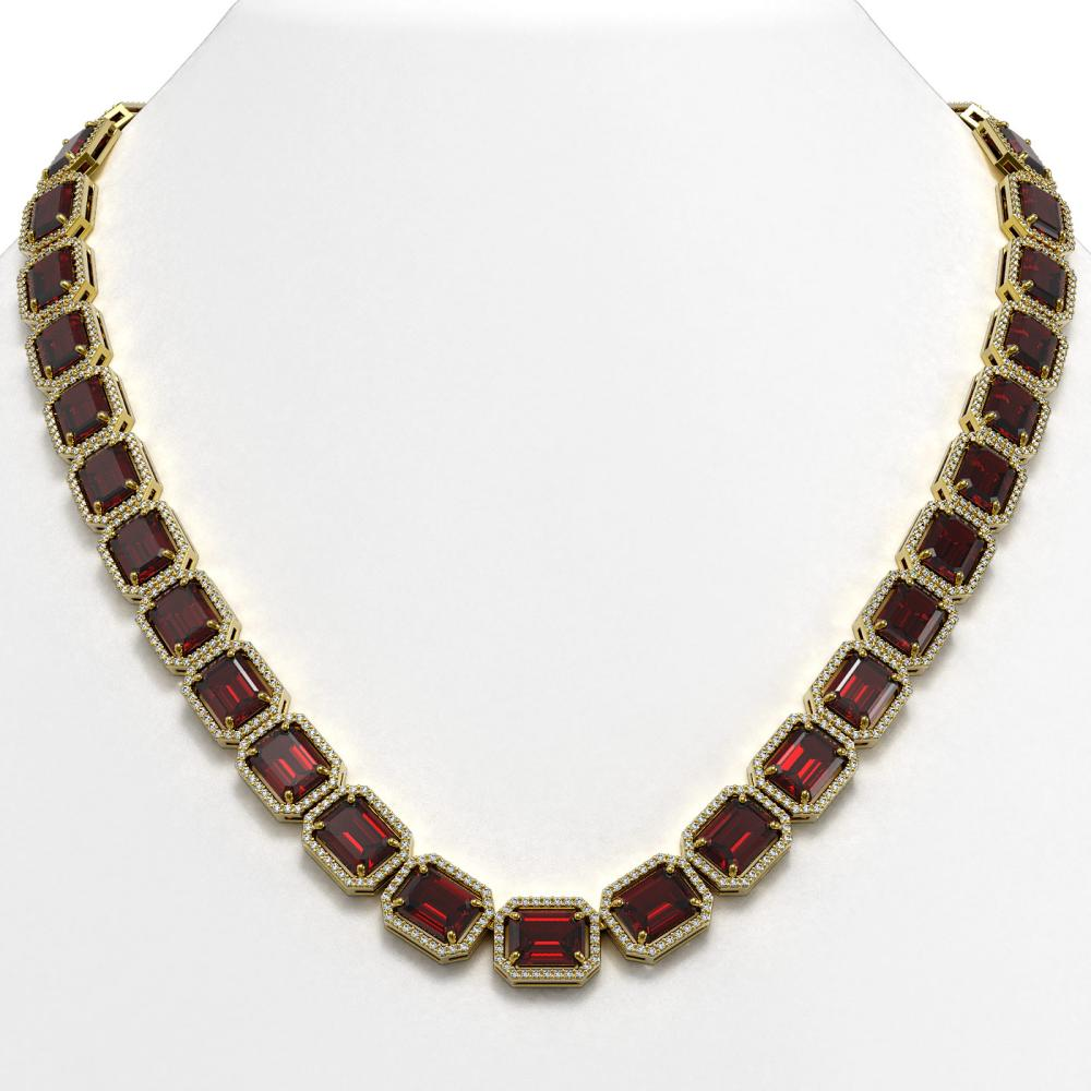 73.44 ctw Garnet & Diamond Halo Necklace 10K Yellow Gold - REF-696F2N - SKU:41521