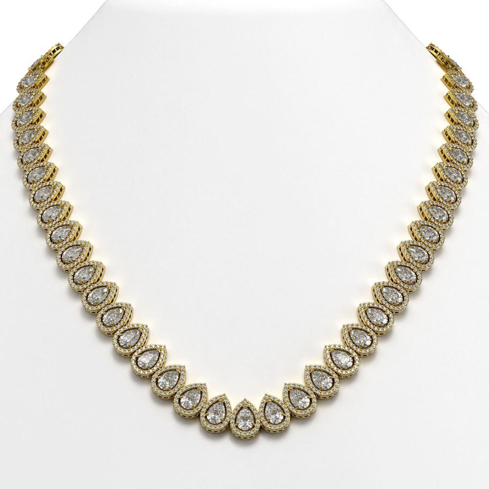 42.11 ctw Pear Diamond Necklace 18K Yellow Gold - REF-5853R8K - SKU:42823