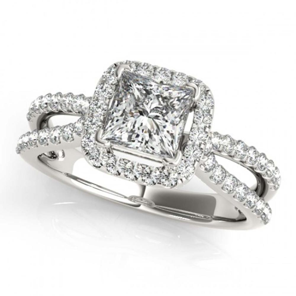 0.85 ctw VS/SI Princess Diamond Halo Ring 18K White Gold - REF-106N3A - SKU:27129