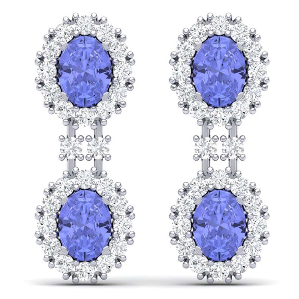 8.35 ctw Tanzanite & VS Diamond Earrings 18K White Gold - REF-263F6N - SKU:38817