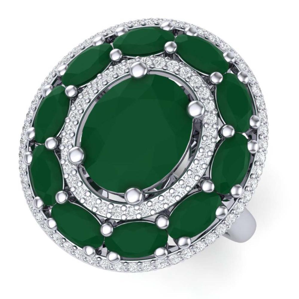 8.05 ctw Emerald & VS Diamond Ring 18K White Gold - REF-153Y6X - SKU:39237