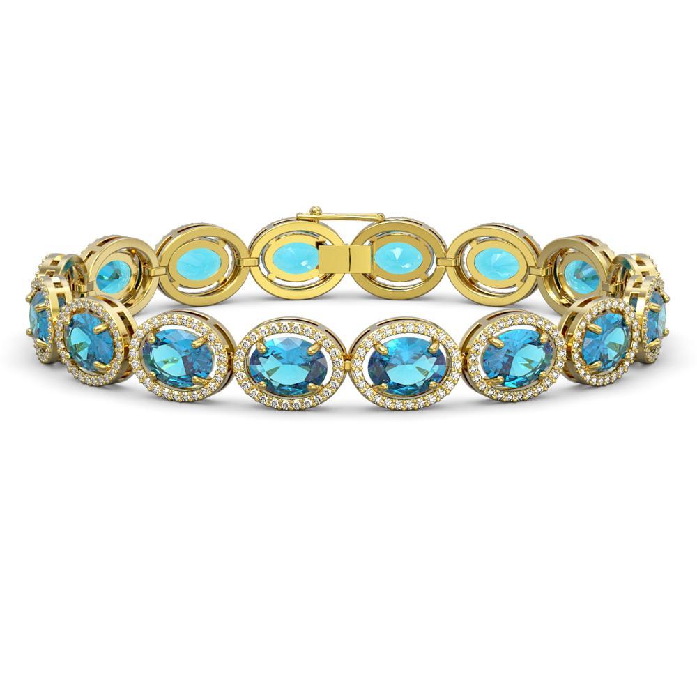 29.53 ctw Swiss Topaz & Diamond Halo Bracelet 10K Yellow Gold - REF-264V5Y - SKU:40732