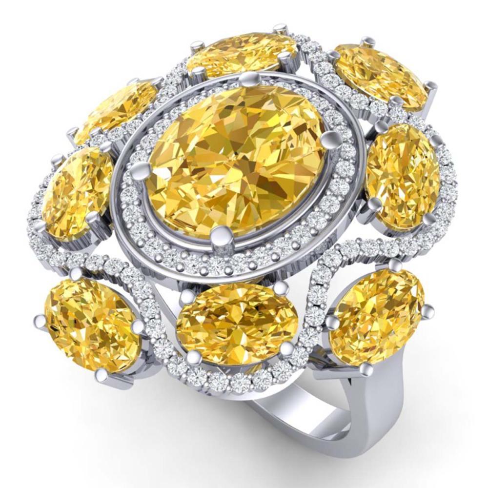 7.68 ctw Canary Citrine & VS Diamond Ring 18K White Gold - REF-178H2M - SKU:39306