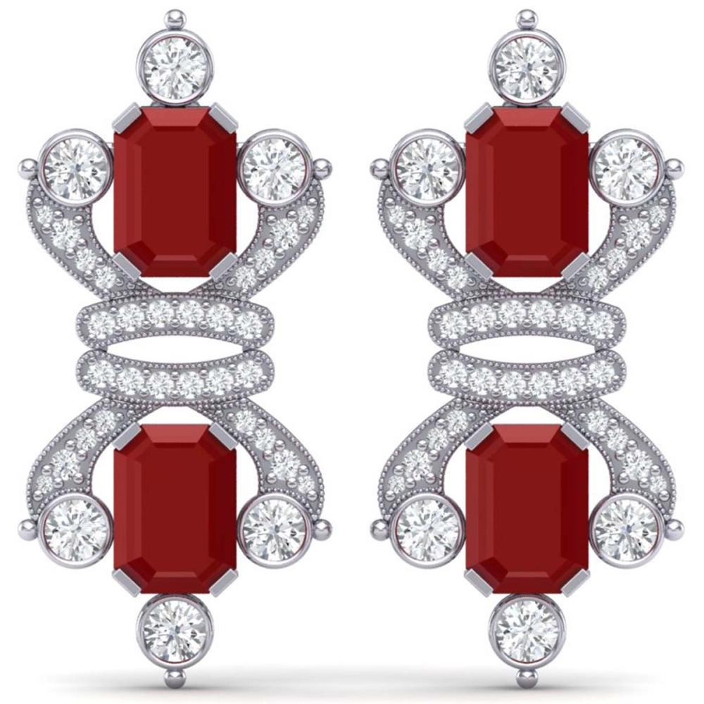 27.36 ctw Ruby & VS Diamond Earrings 18K White Gold - REF-600R2K - SKU:38763