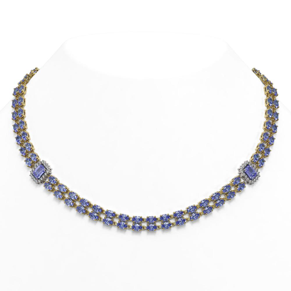 58.68 ctw Tanzanite & Diamond Necklace 14K Yellow Gold - REF-720A4V - SKU:45091