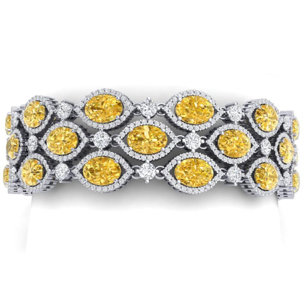43.84 ctw Canary Citrine & VS Diamond Bracelet 18K White Gold - REF-1018V2Y - SKU:38901
