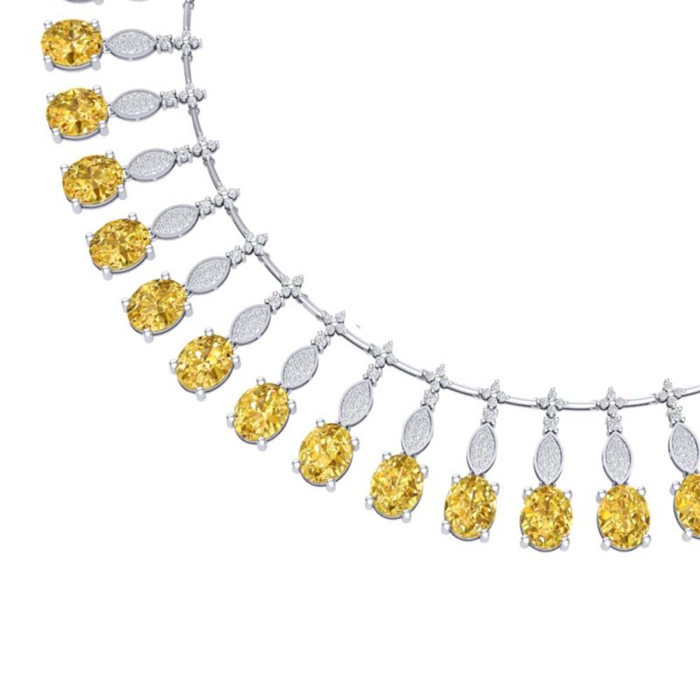 50.16 ctw Canary Citrine & VS Diamond Necklace 18K White Gold - REF-927N3A - SKU:39135