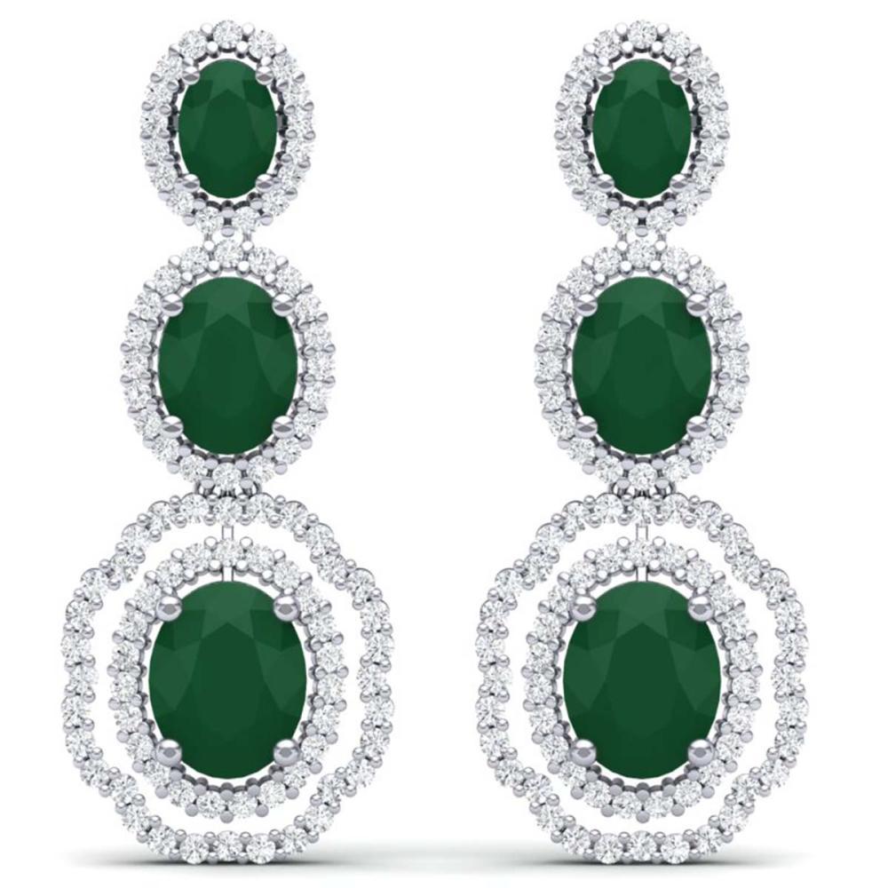 17.01 ctw Emerald & VS Diamond Earrings 18K White Gold - REF-418F2N - SKU:39201
