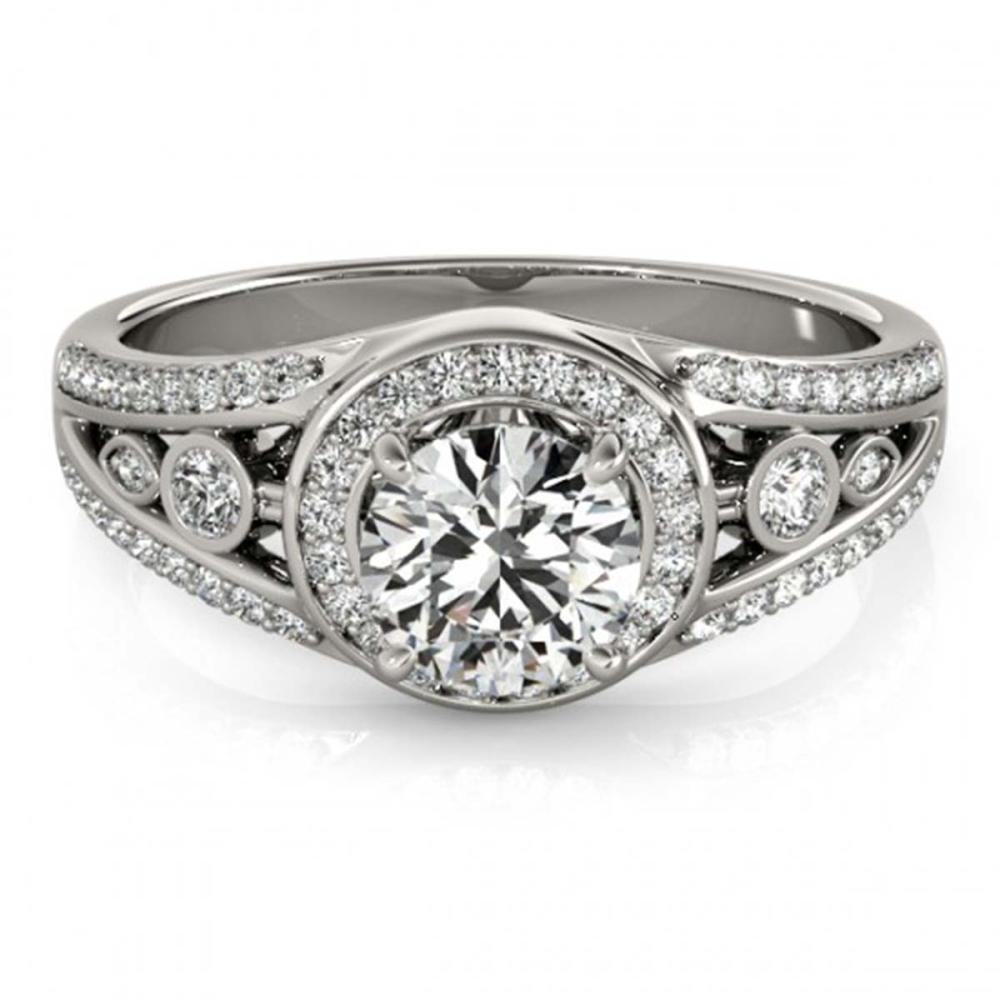 1.15 ctw VS/SI Diamond Halo Ring 18K White Gold - REF-163X6R - SKU:26742