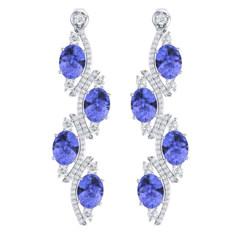 16.23 ctw Tanzanite & VS Diamond Earrings 18K White Gold - REF-354Y5X - SKU:38985
